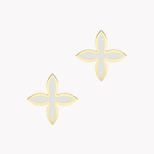 OIA Earrings – yellow gold 585 / hot enamel white