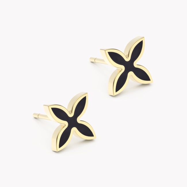OIA Earrings – yellow gold 585 / hot enamel black