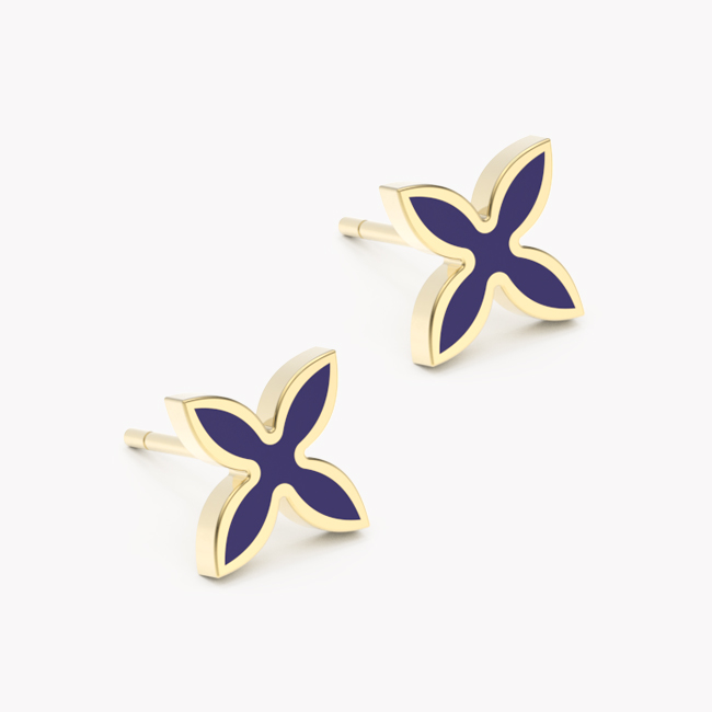 OIA Earrings – yellow gold 585 / hot enamel navy blue