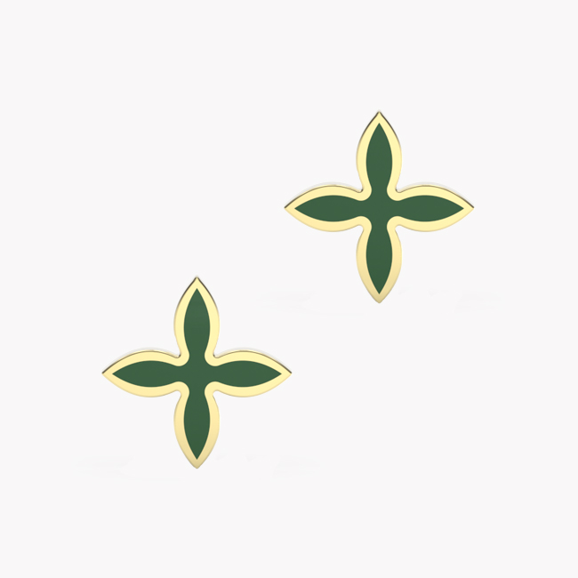 OIA Earrings – yellow gold 585 / hot enamel emerald-green