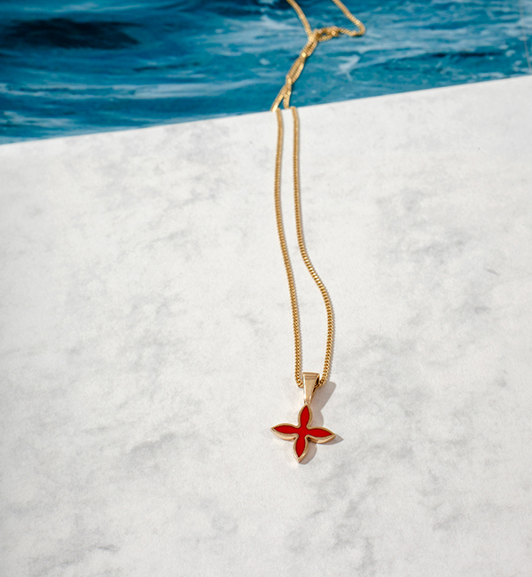 OIA Pendant – yellow gold 585 / hot enamel red