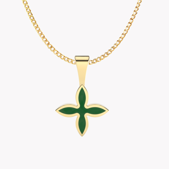 OIA Pendant – yellow gold 585 / hot enamel emerald-green