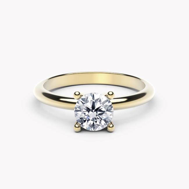Pierścionek Classy – żółte złoto 585 / biały topaz