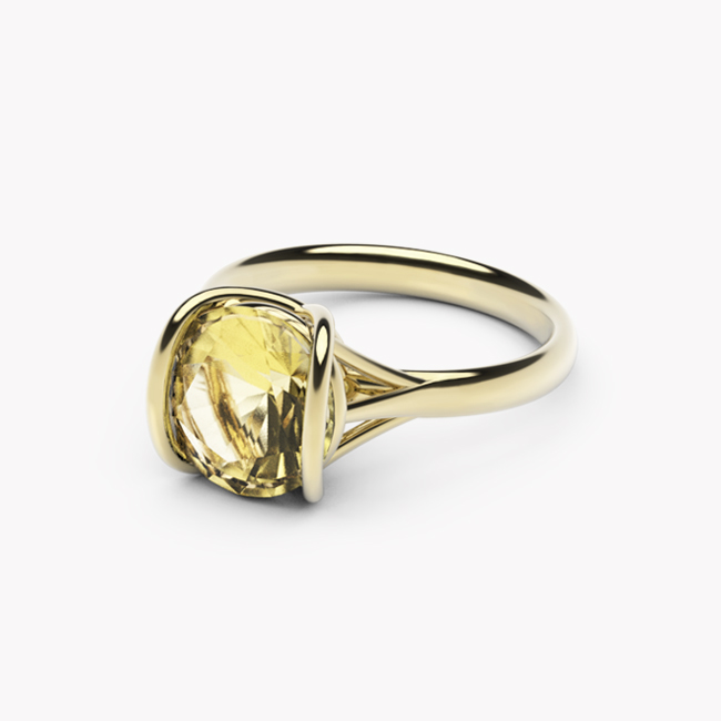 Pierścionek Evra – żółte złoto 585 / cytryn