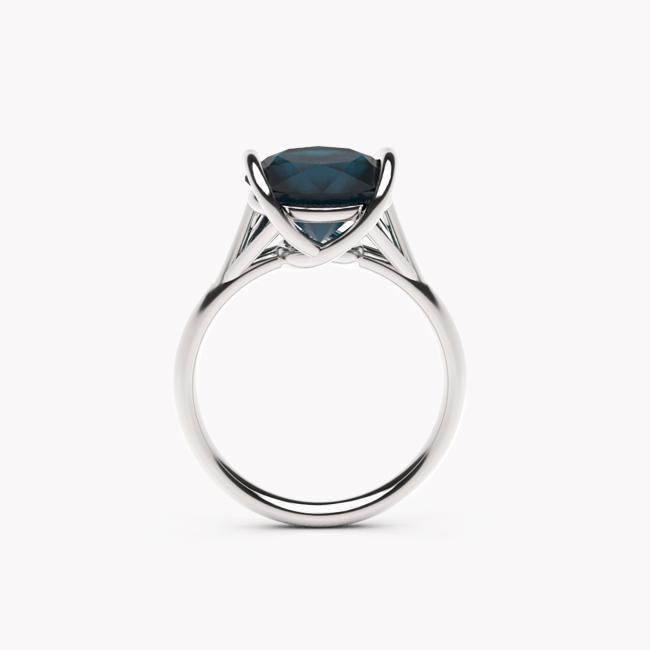 Pierścionek Evra – białe złoto 585 / topaz London Blue