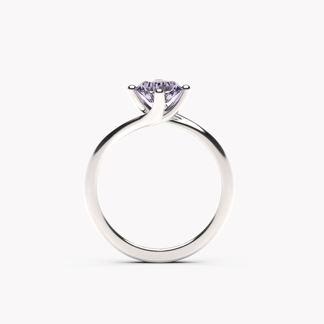 Pierścionek Rosa – białe złoto 585 / ametyst