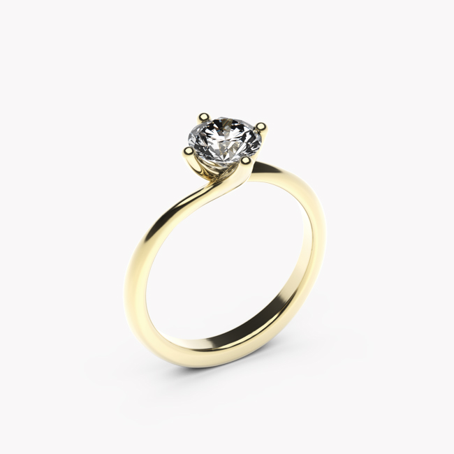 Pierścionek Rosa – żółte złoto 585 / biały topaz