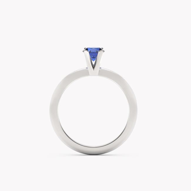 Pierścionek Sioni – białe złoto 585 / szafir naturalny niebieski