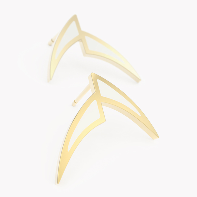 Pisces Earrings - yellow gold 585 / hot enamel white