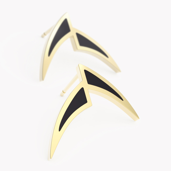 Pisces Earrings - yellow gold 585 / hot enaml black