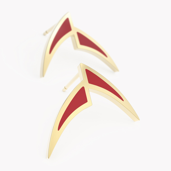 Pisces Earrings - yellow gold 585 / hot enamel red
