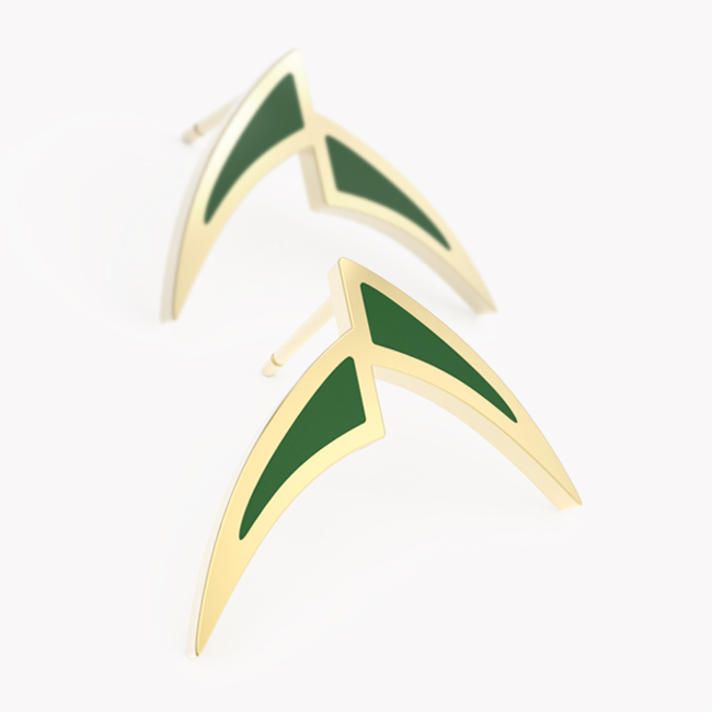 Pisces Earrings - yellow gold 585 / hot enamel emerald-green