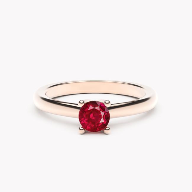 Pierścionek Soji - różowe złoto 585 / rubin