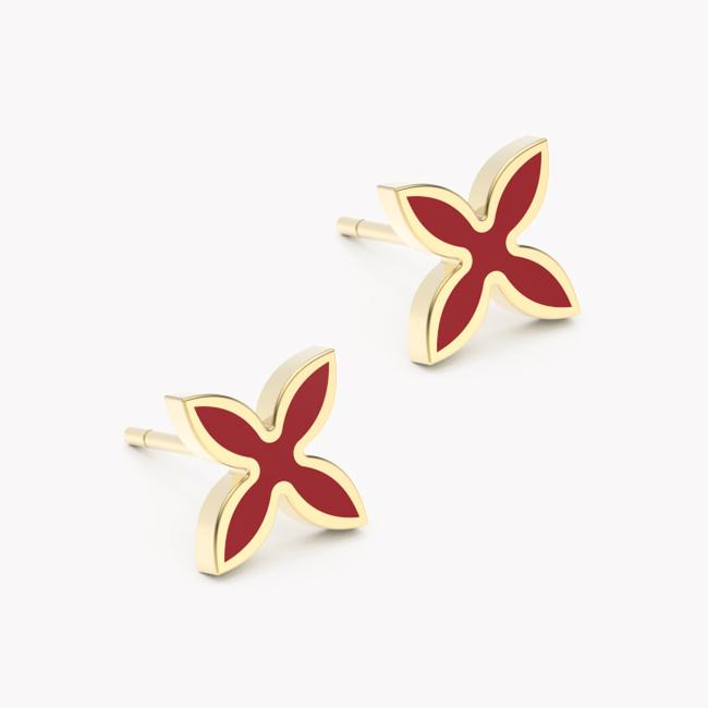 Kolczyki OIA – żółte złoto 585 / emalia ceramiczna czerwona