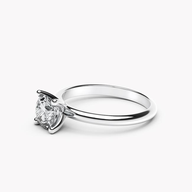 Pierścionek Classy – białe złoto 585 / niebieski topaz