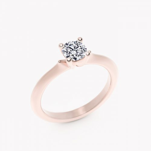 Pierścionek Ise – różowe złoto 585 / brylant
