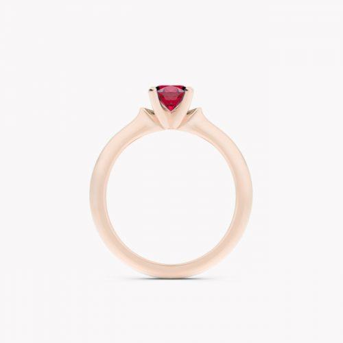 Pierścionek Ise – różowe złoto 585 / rubin