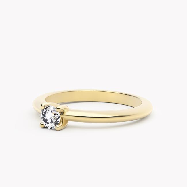 Pierścionek Classy – żółte złoto 585 / brylant 0.20ct