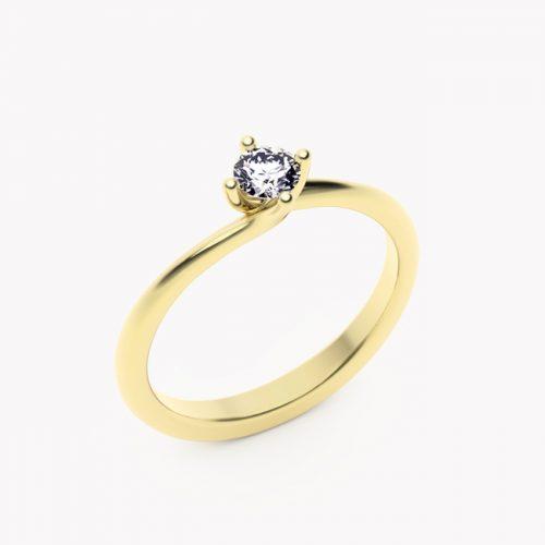 Pierścionek Rosa – żółte złoto 585 / brylant 0.20ct