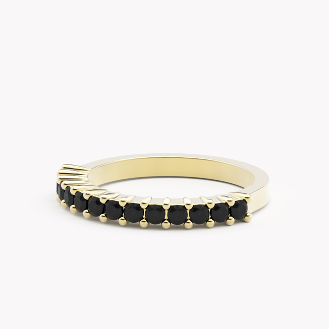 Pierścionek Ise – żółte złoto 585 / czarne brylanty