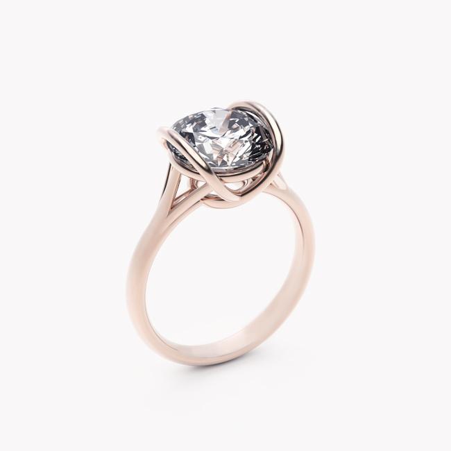 Pierścionek Evra – różowe złoto 585 / topaz