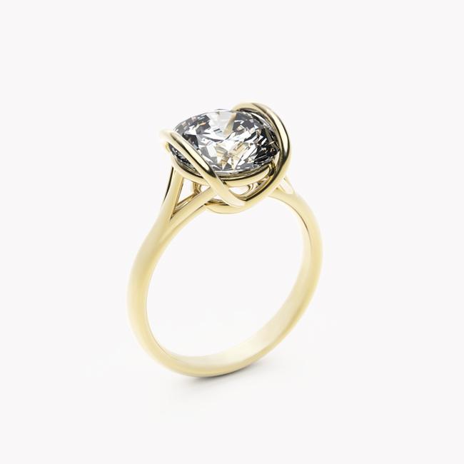 Pierścionek Evra – żółte złoto 585 / topaz