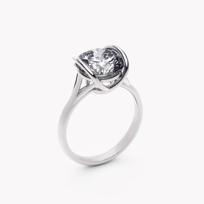 Pierścionek Evra – białe złoto 585 / topaz