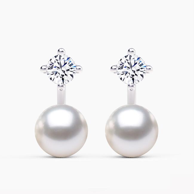 Kolczyki na zamówienie perły biały szafir