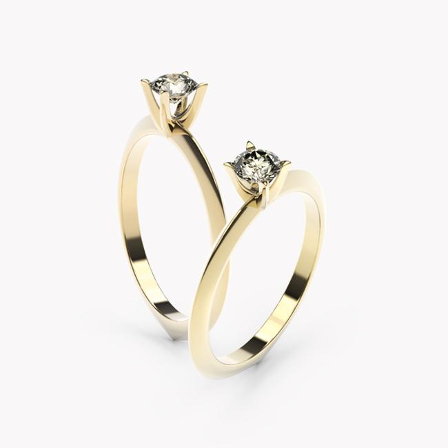Pierścionek z brylantem - żółte złoto