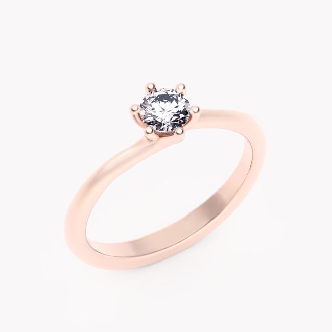 Pierścionek Rosa – różowe złoto 585 / brylant 0.30ct