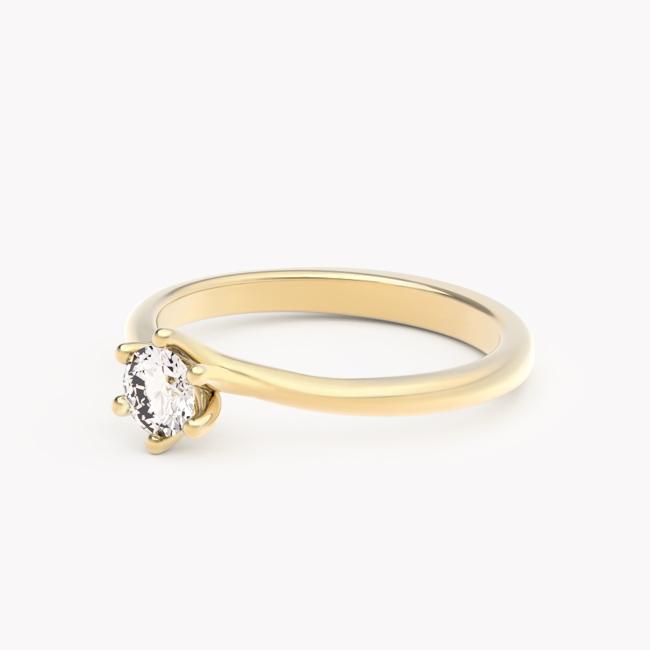 Pierścionek Rosa – żółte złoto 585 / brylant 0.30ct