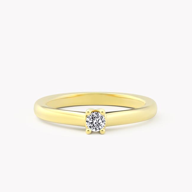 Pierścionek Soji – żółte złoto 585 / brylant 0,10ct